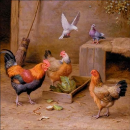 Chickens in a Farmyard by Edgar Hunt Ceramic Accent & Decor Tile EH004AT