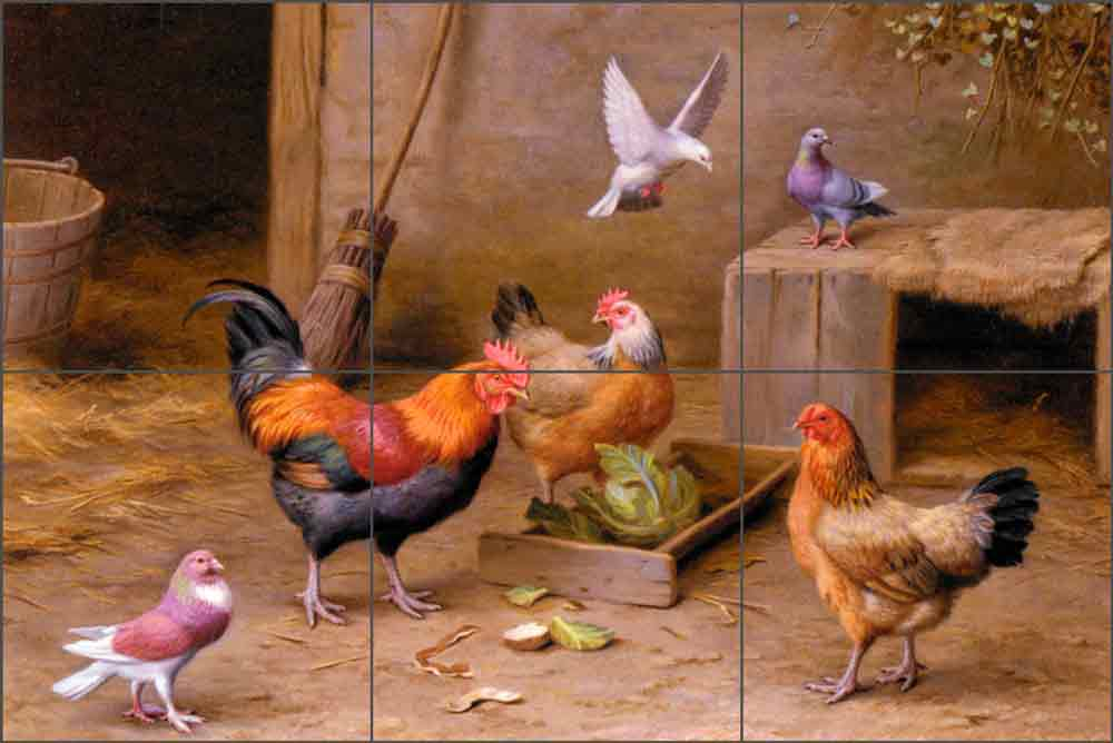 Chickens in a Farmyard by Edgar Hunt Ceramic Tile Mural EH004