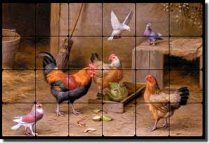"Hunt Roosters Tumbled Marble Tile Mural 24"" x 16"" - EH004"