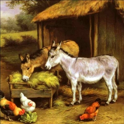 Chickens and Donkeys Feeding Outside a Stable by Edgar Hunt Ceramic Accent & Decor Tile EH005AT