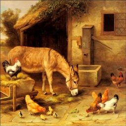A Donkey and Chickens Outside a Stable by Edgar Hunt Ceramic Accent & Decor Tile EH006AT