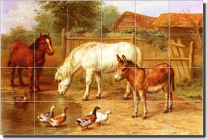 "Hunt Donkey Pony Ceramic Tile Mural 25.5"" x 17"" - EH009"