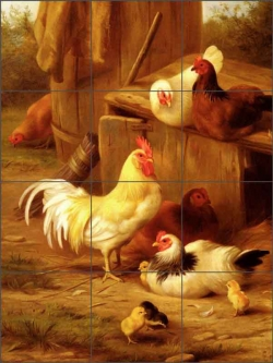 Hunt Chickens Chicks Ceramic Tile Mural - EH010