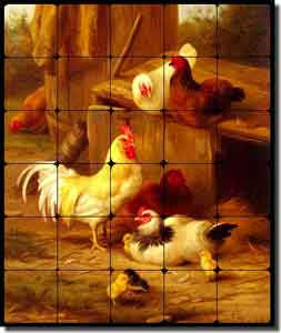 "Hunt Chickens Rooster Tumbled Marble Tile Mural 20"" x 24"" - EH010"