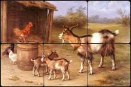 A Farmyard Scene with Goats and Chickens by Edgar Hunt Tumbled Marble Tile Mural EH014