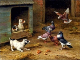Puppies and Pigeons Playing by a Kennel by Edgar Hunt Ceramic Tile Mural EH018