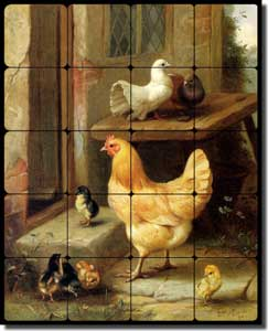 "Hunt Hen Chicken Chicks Tumbled Marble Tile Mural 16"" x 20"" - EH021"