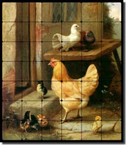 "Hunt Hen Chicken Chicks Tumbled Marble Tile Mural 24"" x 28"" - EH021"