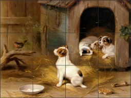 The Puppies by Edgar Hunt Ceramic Tile Mural - EH024