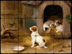 The Puppies by Edgar Hunt Tumbled Marble Tile Mural EH024
