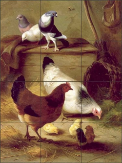 Pigeons and Chickens by Edgar Hunt Ceramic Tile Mural - EH025CS