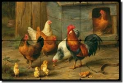 "Hunt Rooster Chickens Cockerel Tumbled Marble Tile Mural 18"" x 12"" - EH030"