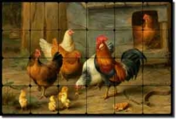 "Hunt Rooster Chickens Cockerel Tumbled Marble Tile Mural 36x24"" - 6"" - EH030"