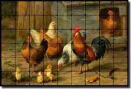 "Hunt Rooster Chickens Cockerel Tumbled Marble Tile Mural 36x24"" - EH030"
