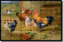 "Hunt Rooster Chickens Tumbled Marble Tile Mural 24"" x 16"" - EH032"