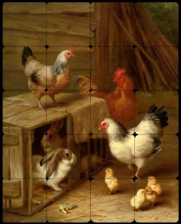 Cockerel Hens, Chicks and Rabbits by Edgar Hunt Tumbled Marble Tile Mural EH036