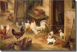 Chickens and Puppies by Edgar Hunt Ceramic Tile Mural