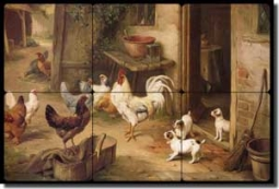 "Hunt Chickens Puppies Tumbled Marble Tile Mural 18"" x 12"" - EH037"