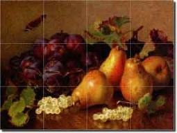 "Still Life with Pears by Eloise Stannard - Fruit Glass Tile Mural 24"" x 18"""