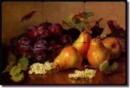 "Still Life with Pears by Eloise Stannard - Fruit Tumbled Marble Tile  Mural 12"" x 8"""