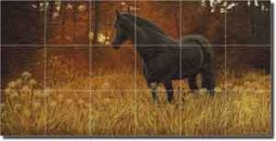 "Ryan Horse Equine Glass Wall Floor Tile Mural 36"" x 18"" - EWH-LMR001"