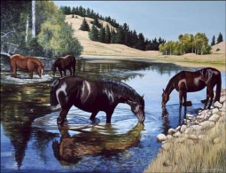 Horses at the Lake by Liz Mitten Ryan Ceramic Accent & Decor Tile - EWH-LMR006AT