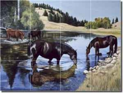 "Horses at the Lake by Liz Mitten Ryan Glass Tile Mural 24"" x 18"" - EWH-LMR006"