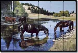 "Horses at the Lake by Liz Mitten Ryan Tumbled Marble Tile Mural 24"" x 16"" - EWH-LMR006"