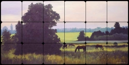 Pasture by Liz Mitten Ryan Tumbled Marble Tile Mural - EWH-LMR014