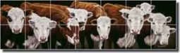 "Ryan Western Cattle Ceramic Tile Mural 42"" x 12"" - EWH-LMR015"