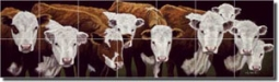 "Ryan Western Cattle Ceramic Tile Mural 29.75"" x 8.5"" - EWH-LMR015"