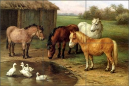Ponies by a Pond by Edgar Hunt Ceramic Tile Mural EH016