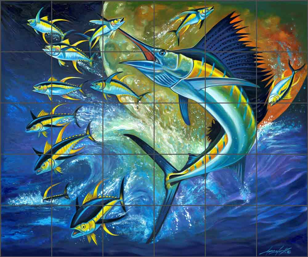 Catching the Yellows on the Atlantic by Fernando Agudelo Ceramic Tile Mural FAA015