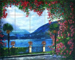 Lake Como by Fernando Agudelo Ceramic Tile Mural - FAA019