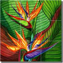 "Agudelo Tropical Floral Flower Glass Tile Mural 18"" x 18"" - FAA027"