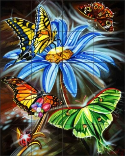 Butterflies are Free by Fernando Agudelo Ceramic Tile Mural FAA034