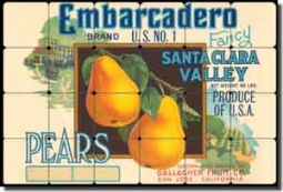 "Embarcadero Pears - Fruit Crate Label Tumbled Marble Tile Mural 24"" x 16"" - FCL006"