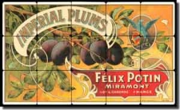 "Plum Fruit Crate Label Tumbled Marble Tile Mural 20"" x 12"" - FCL041"
