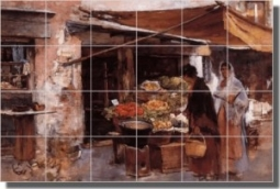"Venetian Fruit Market by Frank Duveneck - Old World Tumbled Marble Tile Mural 16"" x 24"" Kitchen Show"