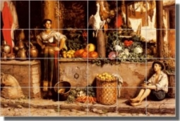 "UnMarche Aux Legumes by Frans Meerts - Old World Vegetables Ceramic Tile Mural 18"" x 24"" Kitchen Sho"