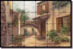"Martinelli Tuscan Landscape Tumbled Marble Tile Mural 24"" x 16"" - FMA002"