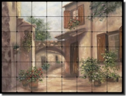 "Martinelli Tuscan Landscape Tumbled Marble Tile Mural 32"" x 24"" - FMA002"