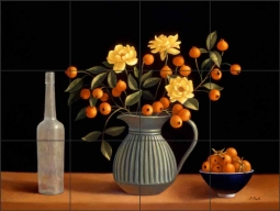 Still Life with Persimmons and Yellow Roses by Frances Poole Ceramic Tile Mural FPA001