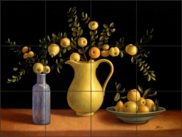 Crab Apples by Frances Poole Ceramic Tile Mural FPA002