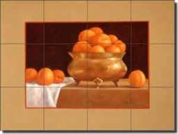 "Poole Apricot Fruit Ceramic Tile Mural 17"" x 12.75"" - FPA004"