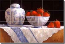 "Poole Fruit Strawberry Ceramic Tile Mural 25.5"" x 17"" - FPA005-2"