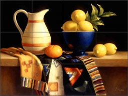 Lemons by Frances Poole Ceramic Tile Mural FPA006