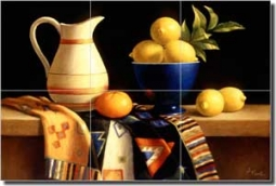 "Poole Kitchen Lemons Glass Tile Mural 18"" x 12"" - FPA006"