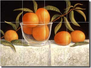 "Poole Peaches Fruit Glass Tile Mural 24"" x 18"" - FPA007-2"