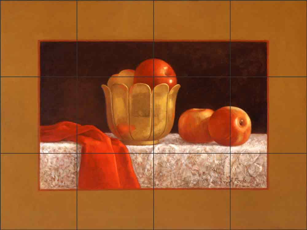 Apples with Red and Gold by Frances Poole Ceramic Tile Mural FPA010